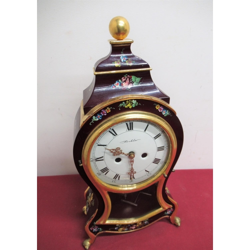 28 - 20th C Hoehler mantel clock, Rococo style painted case decorated with floral sprays, glazed door enc...