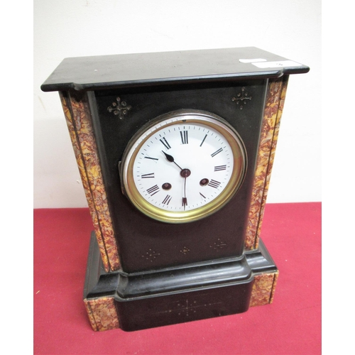 3 - 19th C French slate and variegated marble mantel clock, two train count wheel striking movement stam...
