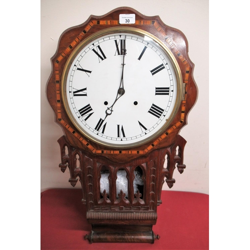 30 - Late 19th Early 20th C superior American drop dial wall clock, the inlaid walnut case with Tunbridge...