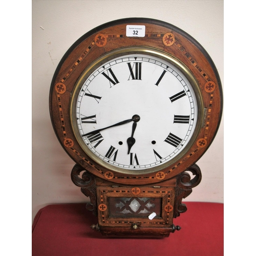 32 - Late 19th Early 20th C American drop dial wall clock, walnut case with Tunbridge ware bandings, two ...