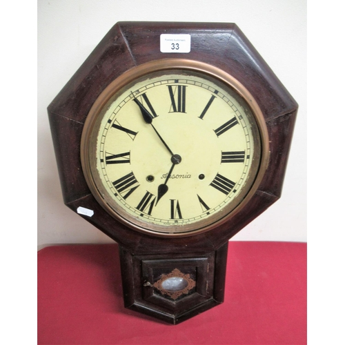 33 - Late 19th Early 20th C Ansonia American drop dial wall clock, stained walnut case with two train str...