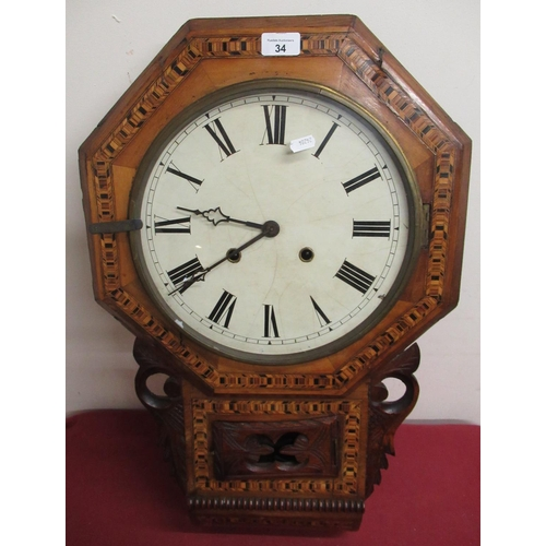 34 - Late 19th Early 20th C  American drop dial wall clock, walnut case with Tunbridge ware banding, two ...