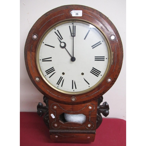 36 - Late 19th C American drop dial wall clock, walnut case inlaid with white metal and mother of pearl d...