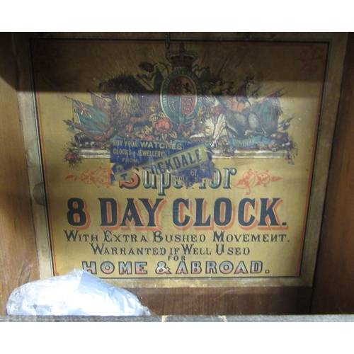 37 - Late 19th C Superior American drop dial wall clock,  walnut case with Tunbridge ware banding and dou...