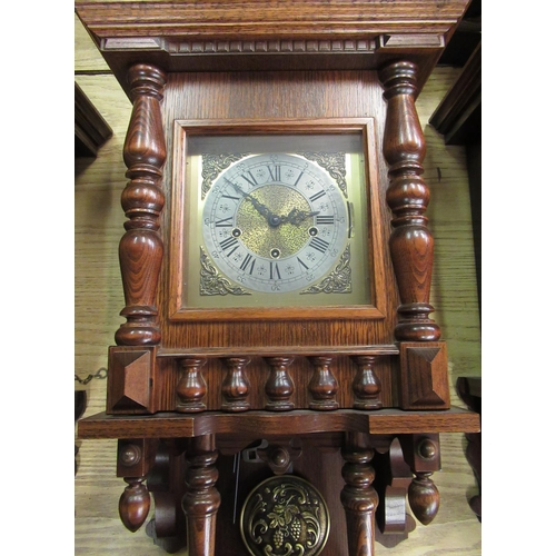 41 - Late 20th C German wall clock, oak case with carved columns and gallery, single glazed panelled door...