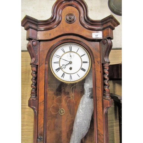 47 - Late Victorian figured walnut cased Vienna wall clock,  single glazed panelled door with craved scro...