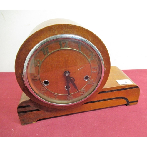 5 - 1930s mahogany cased inlaid mantel clock skeletonised chaptering enclosed by chrome coated bezel, th...