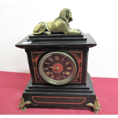 6 - 19th C Egyptian Revival slate and rouge marble mantel clock, case surmounted with recumbent brass sp...