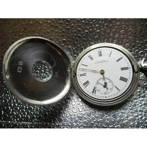 78 - Waltham Traveller silver cased half hunter pocket watch. white enamel dial marked A.W. W Co. Waltham...