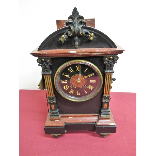 9 - 19th C French slate and Variegated rouge marble mantel clock, reverse break front case with applied ...