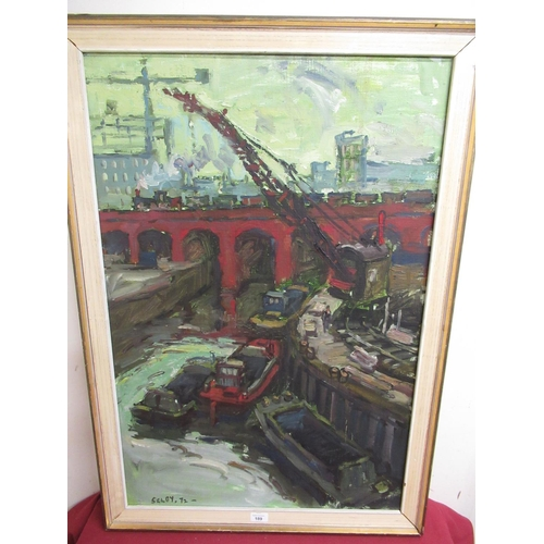 189 - Selby (20th Century): Leeds Canal Basin, industrial canal scene with Railway viaduct, oil on board, ...