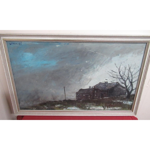 190 - W. Hune, (20th Century): Stone Farm cottage in a landscape, oil on board, signed and dated 66, 50cm ...