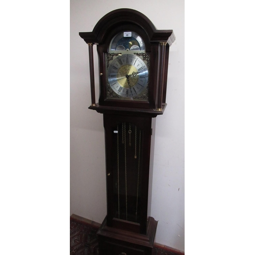 48 - Late 20th C Georgian style mahogany cased long case clock, brass finish break arch dial with moon ph...