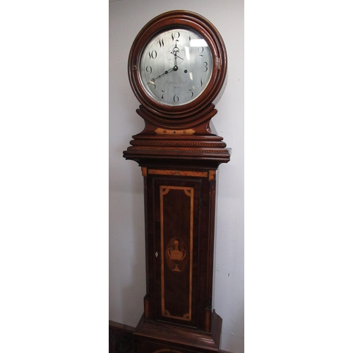 49 - William Rust Hull, Early 19th C inlaid mahogany drum head long case clock, circular signed silvered ...