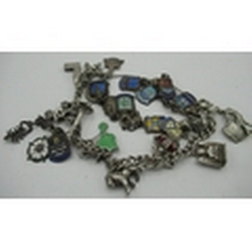 127 - Collection of fourteen sterling silver and enamel souvenir charms, and a charm bracelet with eleven ...