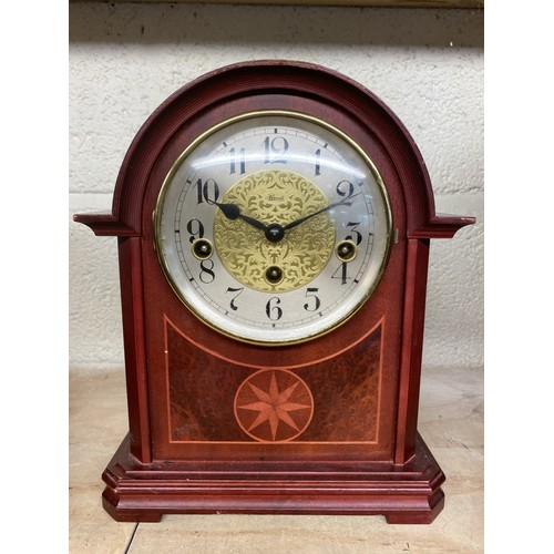 7 - 20th C Edwardian style Hermle mantel clock, three train Westminster chiming movement with floating s...
