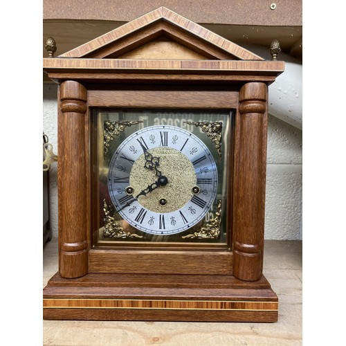 8 - 20th C Victorian style mahogany architectural inlaid mantel clock , brass dial with silvered chapter...