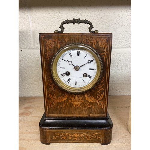 4 - Late 19th C French rosewood marquetry inlaid mantel clock, Valery A. Paris, two train count wheel st...