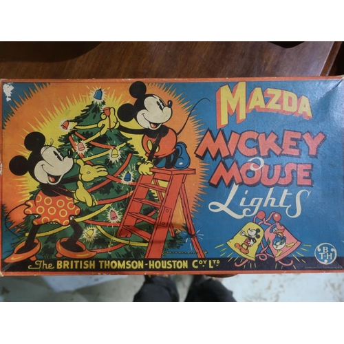 119 - Set of Mazda Mickey Mouse Christmas Lights by the British Thompson Co Ltd, appears complete in origi...