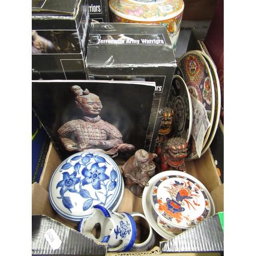 106 - 3 boxed souvenir terracotta warriors, late 20C oriental decorative ceramics etc....