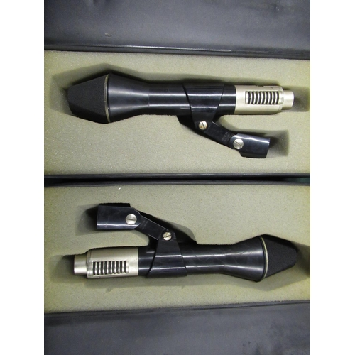 103 - Matched stereo pair of AKG D202E1 two-way cardioid dynamic microphones in semi hard cases (2)...