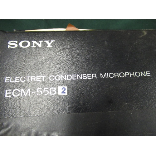 104 - Pair of Sony ECM55B Electret condenser microphones in semi hard cases with additional in-line attenu...