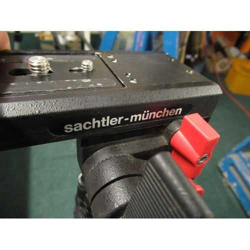 114 - Sachtler-Munchen television type tripod with fluid head  and quick release plate, including tubular ...