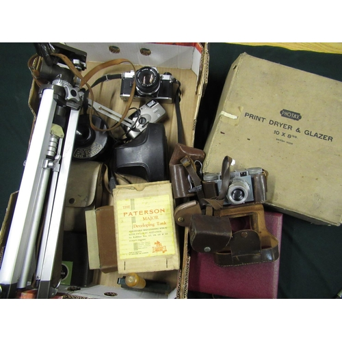 88 - Photographic equipment including an Olympus OM10 and 50mm f1.8 lens, tripod, Paterson film tanks, Ph...