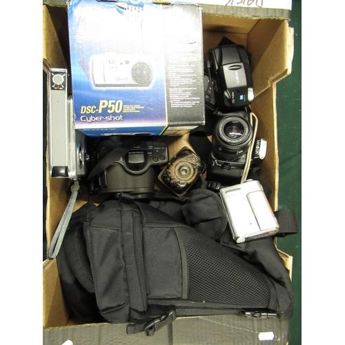 90 - Various cameras including Sony DSC-P50 digital camera, Minolta 300SI with 35-70 lens, Minolta Vectus...