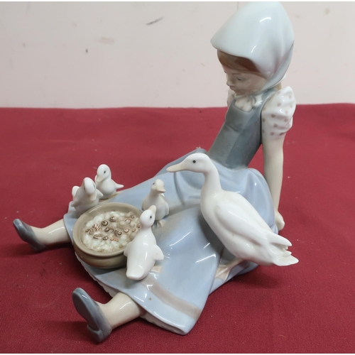 11 - Lladro porcelain figure of a girl seated feeding a duck and ducklings, No 5074, in original box...
