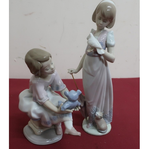 20 - Lladro Collectors Series Model 'Best Friend', 07620 1993 and a similar model of a girl with parasol ...