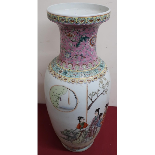 4 - Large Canton vase, polychrome decorated in Famille enamels with female figures on a garden terrace, ...