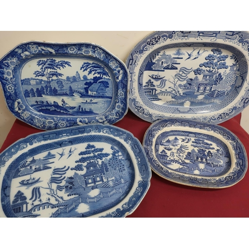 26 - Victorian rectangular meat plate, blue & white transfer printed with figures boating in a landscape,...