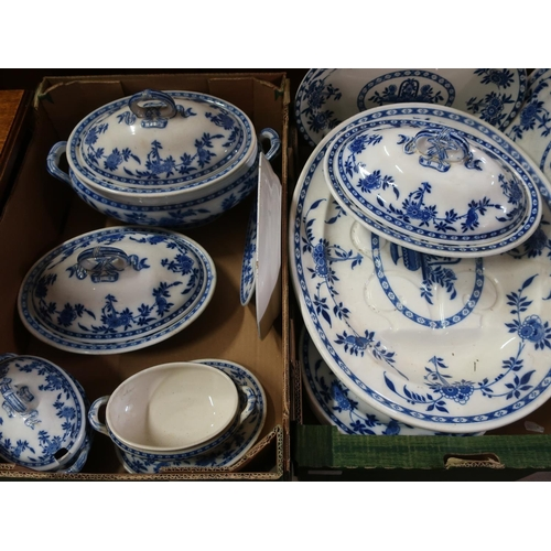 27 - Collection of Minton Delft pattern dinnerware, incl. large meat platter, tureen, three smaller turee...