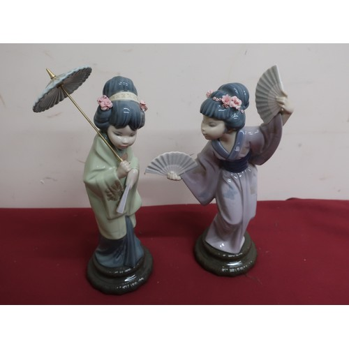 19 - Lladro porcelain figure No 4991 Madame Butterfly and Lladro figure No 4988 Oriental Spring H30cm (A/...