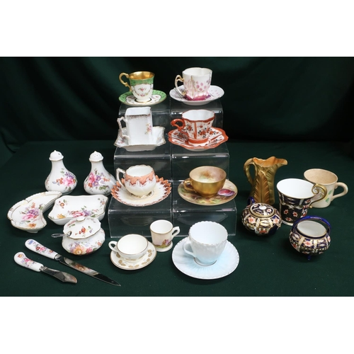 32 - Collection of miniature teacups & saucers including Coalport and Royal Adderley, and a miniature con...