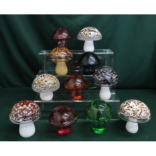 45 - Wedgwood glass mushrooms in various colours and designs, H10cm (11)...