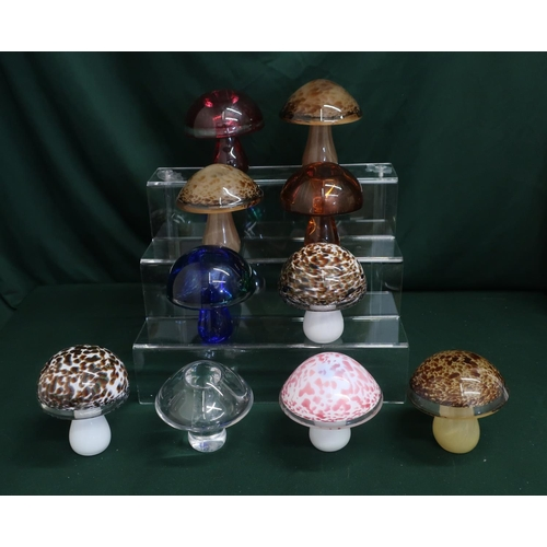 46 - Wedgwood glass mushrooms in various colours and designs, H10cm (10)...
