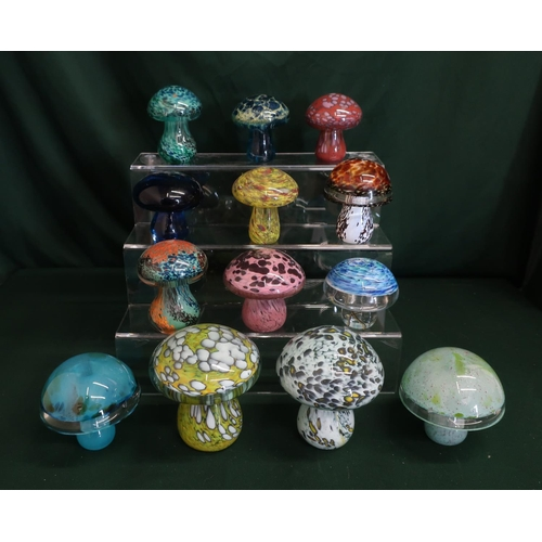 47 - Glass mushroom in various colours, sizes and design by Langham glass, M'dina and Laugharne glass and...