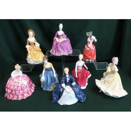 52 - Royal Doulton ladies; Melanie, Charlotte, Victoria, Ninette, Fiona, Laurianne, Sandra and Christmas ...