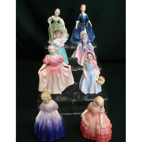 55 - Royal Doulton small ladies; Wendy, Marie, Rose, Bunny, Dinky-Do, Sweeting, Debbie and Fair Maiden, H...