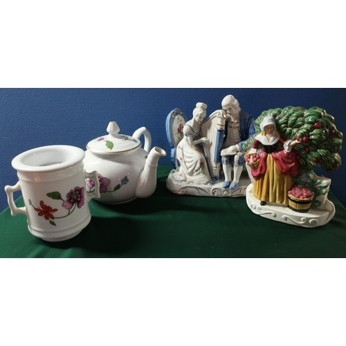 28 - Pair of Masons Staffordshire flatback style figures, pair of  continental models of courting couples...