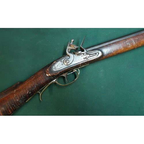 98 - American flintlock Plains rifle by Henry Parker with 30 inch heavy octagonal barrel, with fixed fore...
