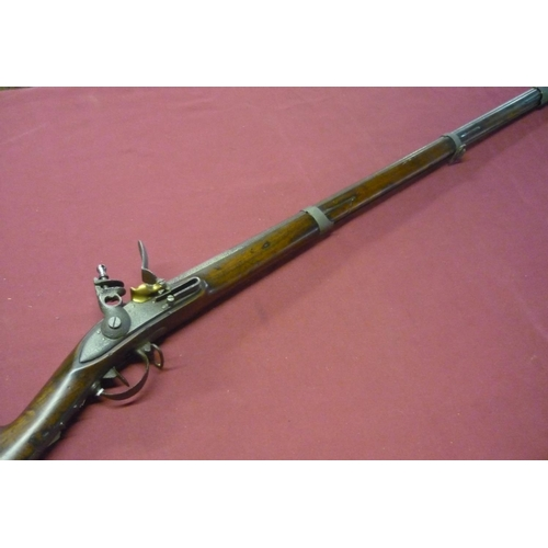 99 - Continental flintlock musket with 40 1/2 inch three banded rifled barrel (pitted), with steel mounts...