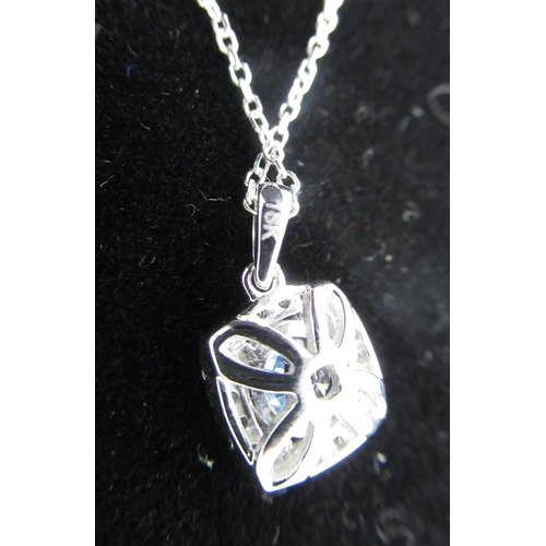 81 - 18ct white gold sapphire and diamond pendant necklace of 90 points...