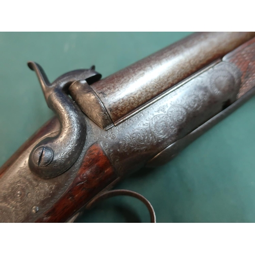 117 - J. Blanch & Son underlever opening 12 bore double barrelled pinfire shotgun, with 30 inch Damascus b...