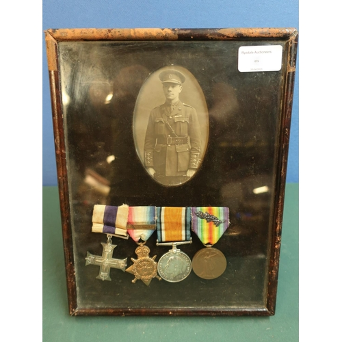 198 - Leather easel framed and mounted MC WWI group of medals awarded to Major W.M.Biden, a display with c...