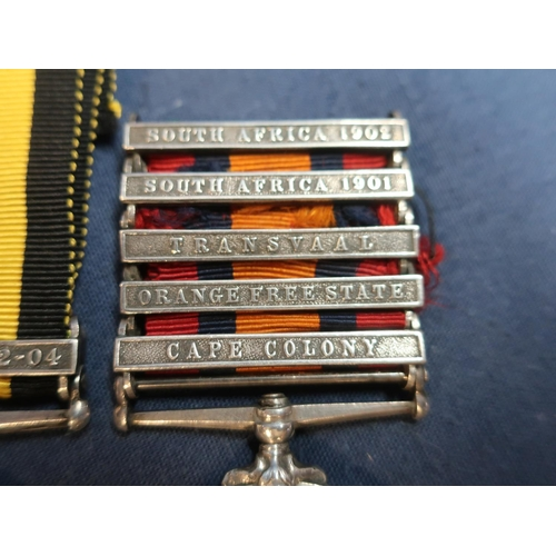 206 - Queens South Africa Medal with five clasps for Cape Colony, Orange Free State, Transvaal, South Afri...