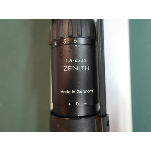364 - Schmidt & Bender, boxed 1.5-6x42  A7 Zenith rifle scope Numbered 357952 L33cm...