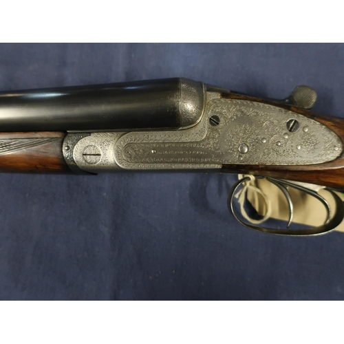 460 - K.D.Radcliffe 12 bored side by side side lock ejector shotgun 28 inch barrels choke 3/4 1/4 with 14 ...